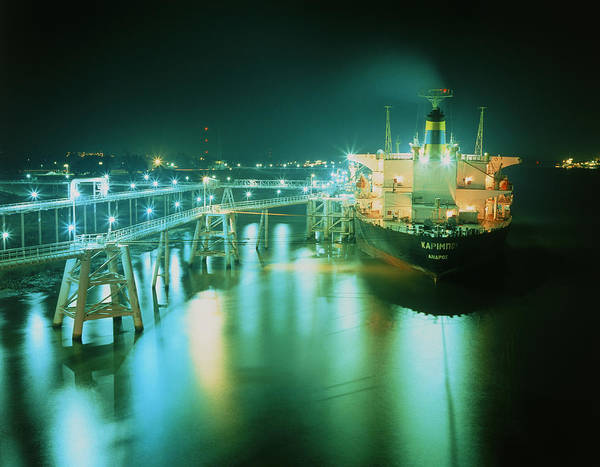 Tanker Poster featuring the photograph Oil Tanker In Port At Night. by David Parker