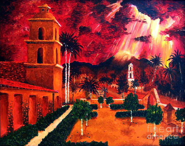 Cityscape Poster featuring the painting Ojai Red I by Chris Haugen