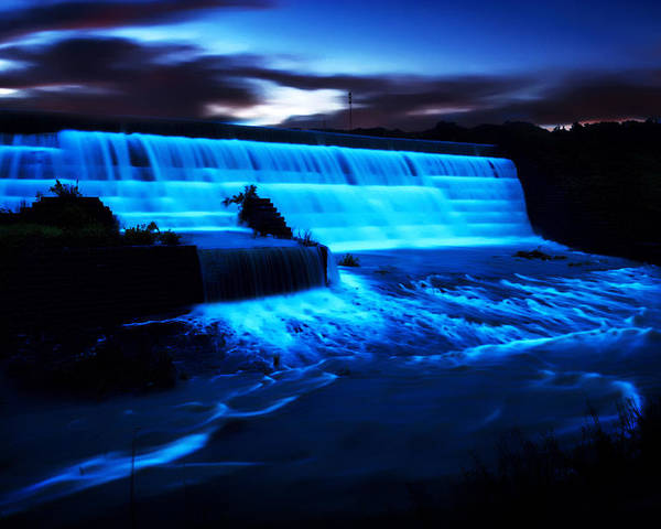 Waterfalls Poster featuring the photograph Okmulgee Spilway by Tim Hayes