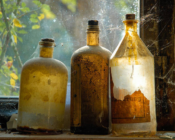 Bottles Poster featuring the photograph Old And Dusty Glass Bottles by Matthias Hauser