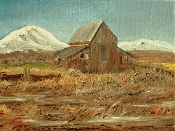 Landscape Barn Mountain Painting View Poster featuring the painting Old Barn And Mountain View by Kenneth LePoidevin