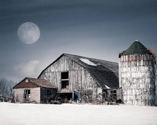 Barn Poster featuring the photograph Old Barn And Winter Moon - Snowy Rustic Landscape by Gary Heller