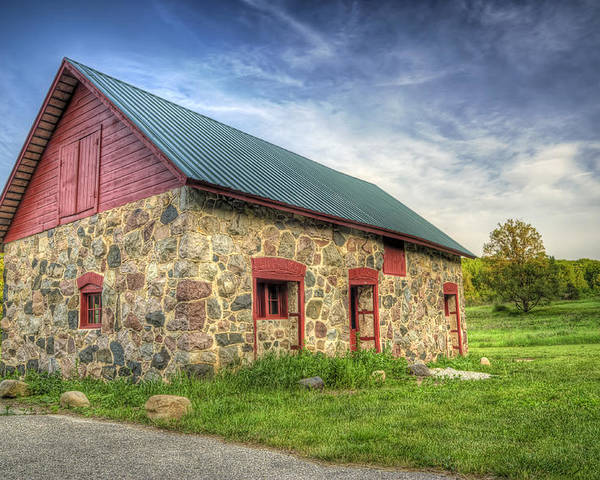 Barn Poster featuring the photograph Old Barn At Dusk by Scott Norris