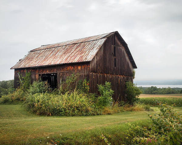 Barn Poster featuring the photograph Old Barn On Seneca Lake - Finger Lakes - New York State by Gary Heller