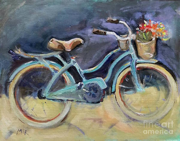 Bicycle Poster featuring the painting Old Blue Bicycle by Maria Reichert