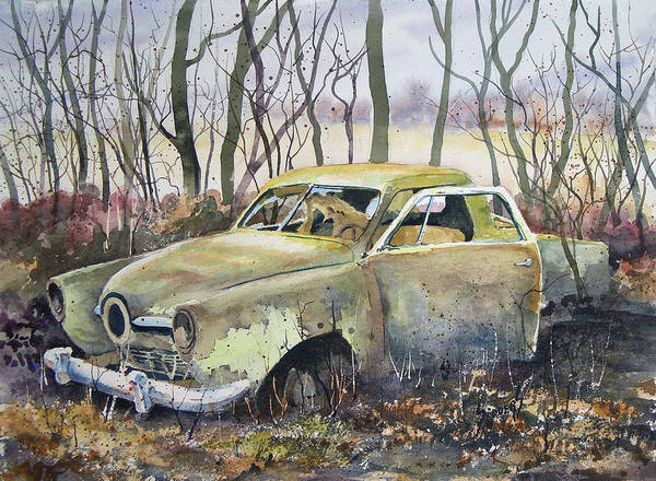 Car Poster featuring the painting Old Bullet Nose by Sam Sidders