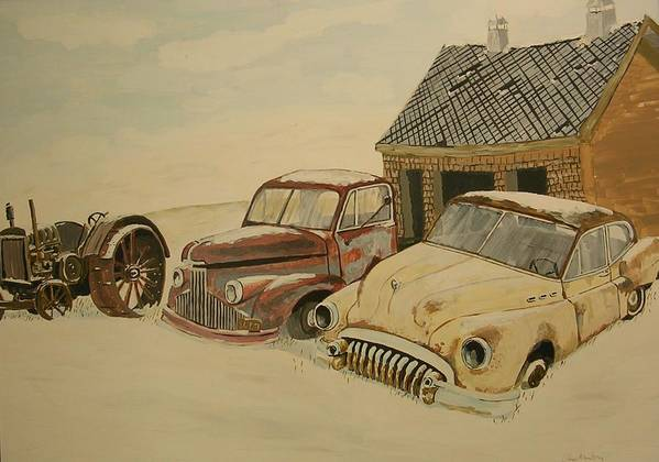 Car Poster featuring the painting Old Cars by Janos Szatmari