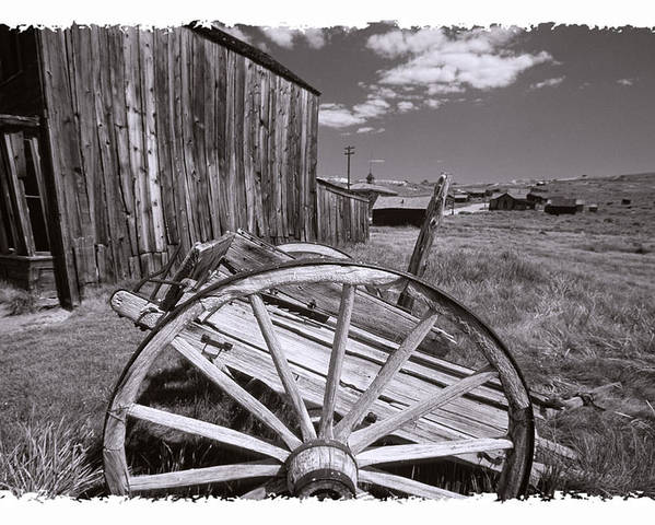 Black And White Poster featuring the photograph Old Cart And Building Bodie California by George Oze