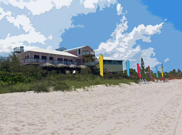 Florida Poster featuring the painting Old Casino On An Atlantic Ocean Beach In Florida by Allan Hughes