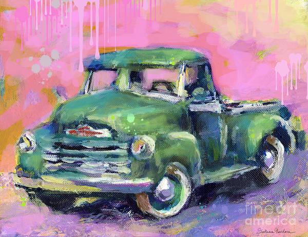 Old Chevrolet Pickup Truck Painting Prints Poster featuring the painting Old Chevy Chevrolet Pickup Truck On A Street by Svetlana Novikova