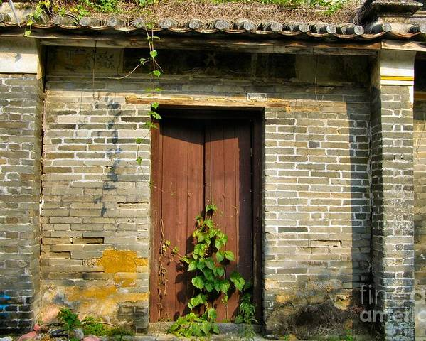 Door Poster featuring the photograph Old Chinese Village Door Series Sixteen by Kathy Daxon