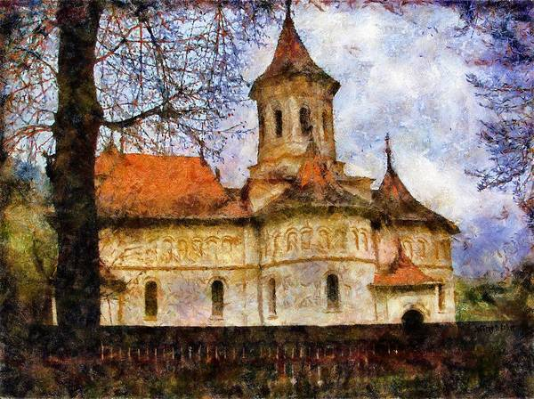Romania Poster featuring the painting Old Church With Red Roof by Jeff Kolker
