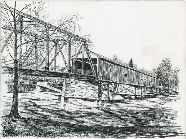 Traditional Poster featuring the painting Old Covered Bridge by Samuel Showman