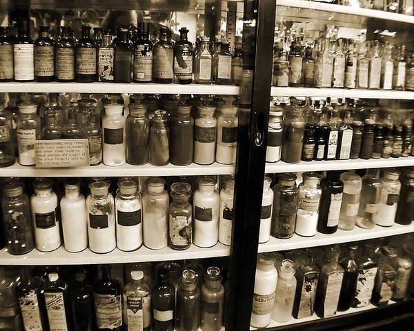 Drug Store Poster featuring the photograph Old Drug Store Goods by DigiArt Diaries by Vicky B Fuller