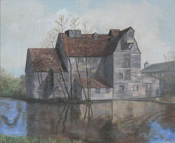 Grain Mill Poster featuring the painting Old English Mill by Dan Bozich