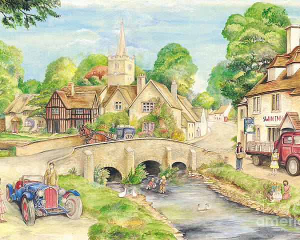 Art Poster featuring the painting Old English Village by Morgan Fitzsimons