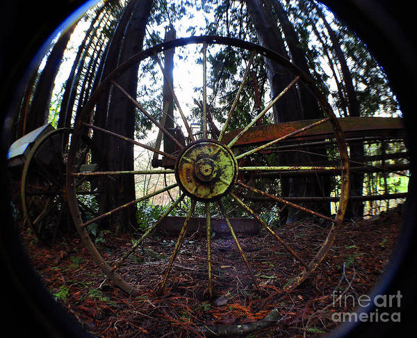 Clay Poster featuring the photograph Old Farm Wagon Wheel by Clayton Bruster