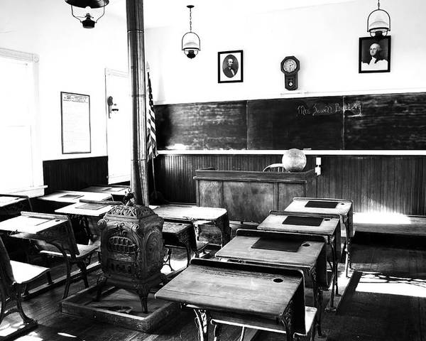 Classroom Poster featuring the photograph Old Fashion Clasroom by Alex Antoine
