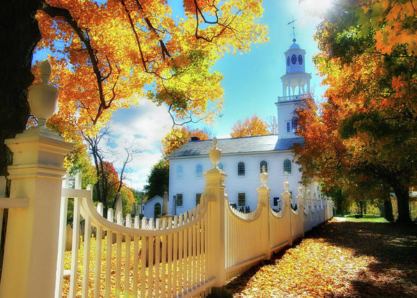 Vermont Poster featuring the photograph Old First Church Of Bennington by Expressive Landscapes Fine Art Photography by Thom