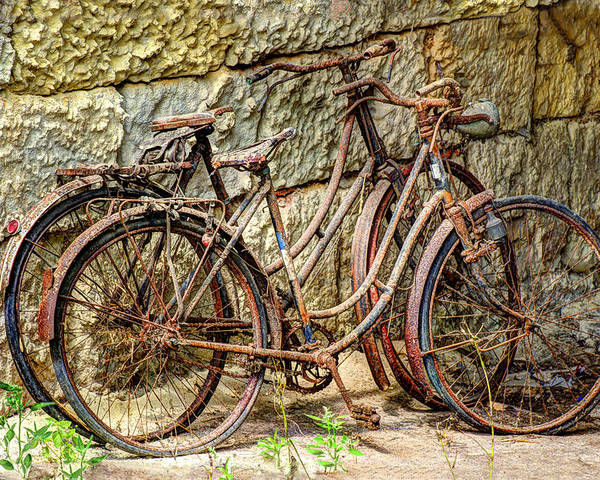 Austria Poster featuring the photograph Old French Bicycles by Debra and Dave Vanderlaan