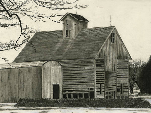 Rural Framed Prints Poster featuring the drawing Old Grainery by Bryan Baumeister