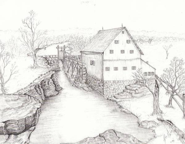 Realistic Drawing Poster featuring the drawing Old Grist Mill by Dan Theisen