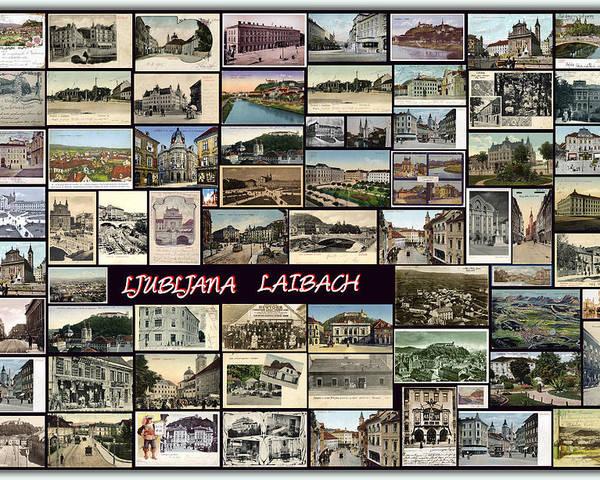 Ljubljana Poster featuring the pyrography Old Ljubljana Collage by Janos Kovac