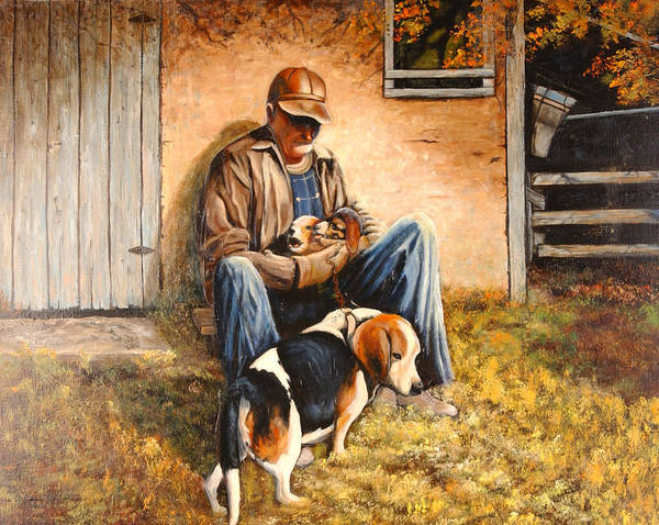 A Painting A Day Poster featuring the painting Old Man And The Beagle Pups by Connie Tom