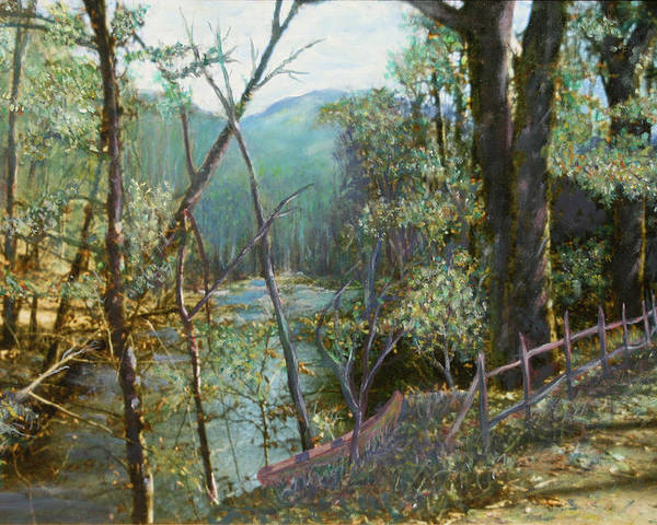 River; Trees; Landscape Poster featuring the painting Old Man River by Ben Kiger