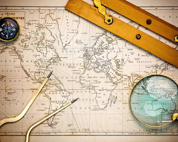 World Map Poster featuring the photograph Old Map And Navigational Objects. by Richard Thomas