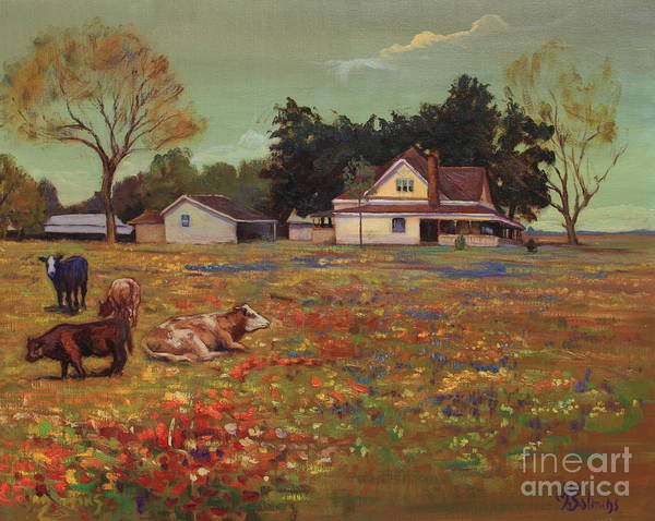 Oil On Canvas Poster featuring the painting Old Mazoch Farm by Maris Salmins