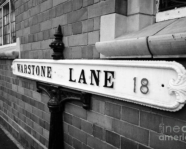 Old Poster featuring the photograph old metal victorian sign for warstone lane jewellery quarter Birmingham UK by Joe Fox