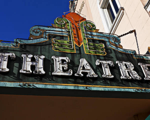 Old Poster featuring the photograph Old Movie Theatre Sign by Garry Gay