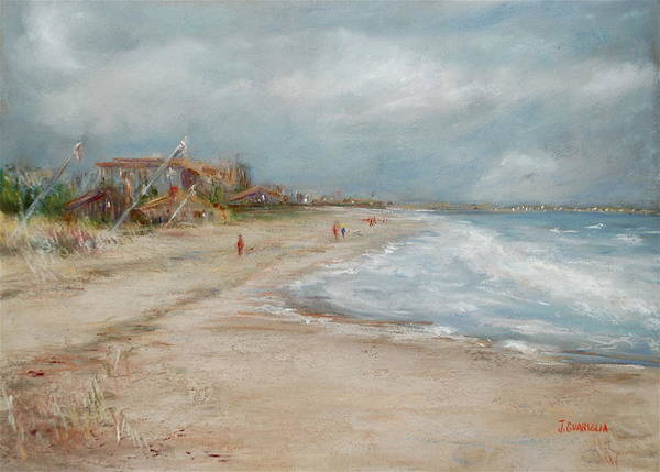 Beach Poster featuring the pastel Old Orchard Beach by Joyce A Guariglia