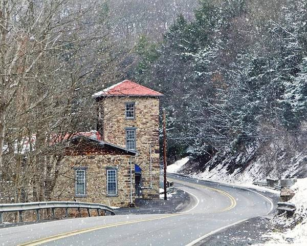 Stone Building Poster featuring the photograph Old Paint Mill Winter Time by Stephanie Calhoun
