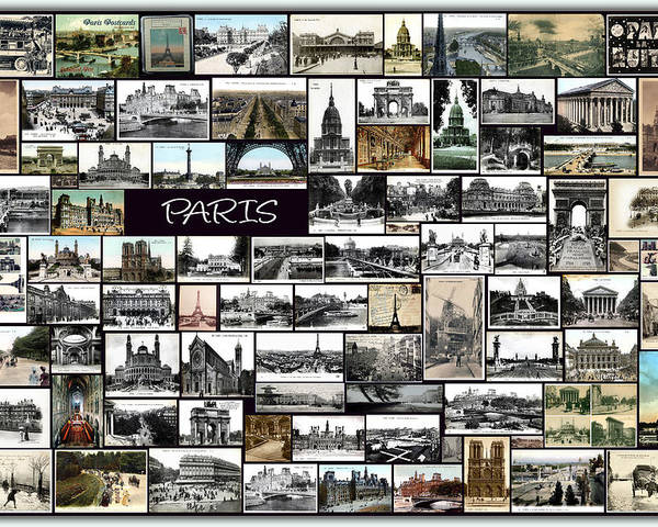 Old Paris Poster featuring the pyrography Old Paris Collage by Janos Kovac