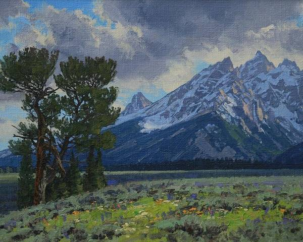 Landscape Poster featuring the painting Old Patriarch by Lanny Grant