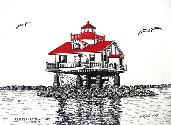 Pen And Ink Drawings Poster featuring the drawing Old Plantation Flats Lighthouse Drawing by Frederic Kohli