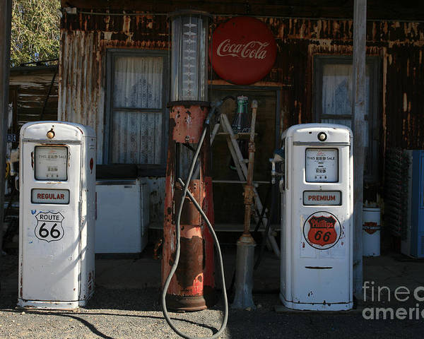 Old Poster featuring the photograph Old Route 66 Gas Station by Timothy Johnson