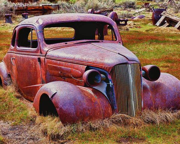 Car Poster featuring the photograph Old Rusty Car Bodie Ghost Town by Garry Gay
