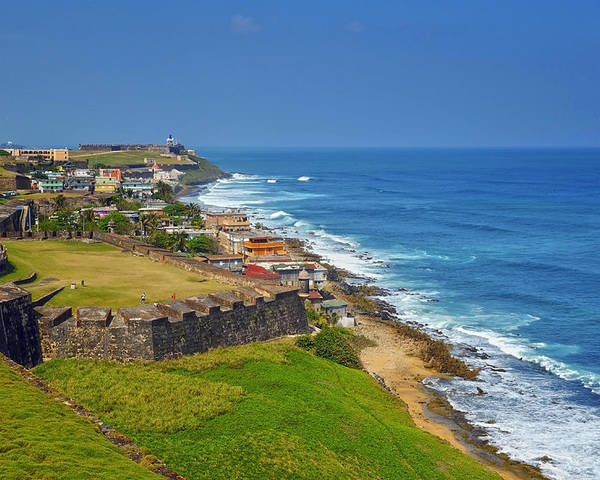 Ocean Poster featuring the photograph Old San Juan Coastline by Stephen Anderson