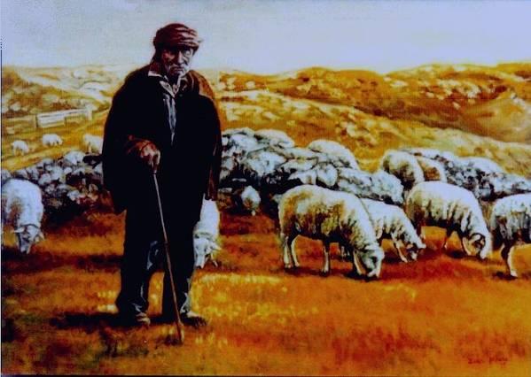 Mt. Peshter Poster featuring the painting Old Shepard From Mt. Peshter by Gordana Dokic Segedin