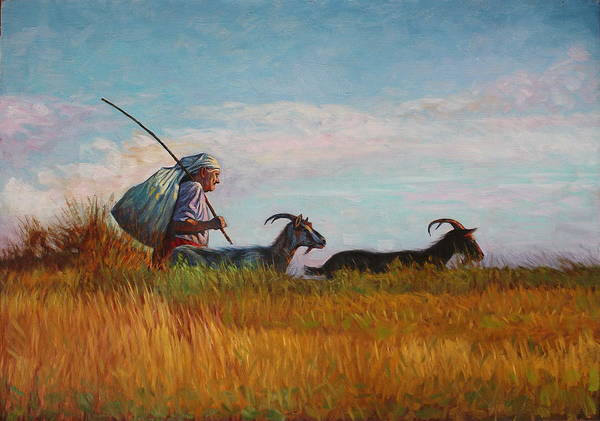 Landscape Poster featuring the painting Old Shepherd by Alexander Chernitsky