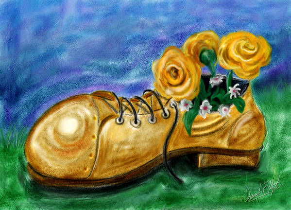 Shoe Poster featuring the painting Old Shoe Planter by David Kyte