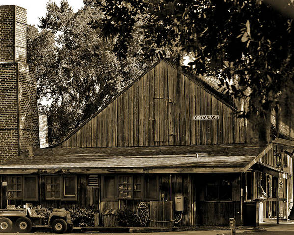 Deleon Springs Poster featuring the photograph Old Spanish Sugar Mill Sepia by DigiArt Diaries by Vicky B Fuller