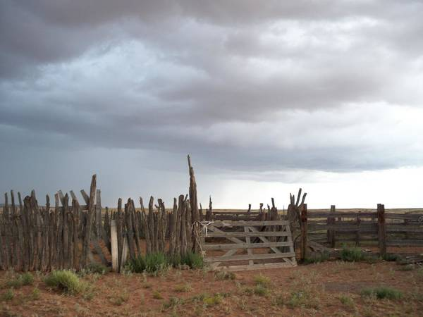 Nature Poster featuring the photograph Old Stock Corral On The Rez Az. by Ernie Scott- Dust Rising Studios