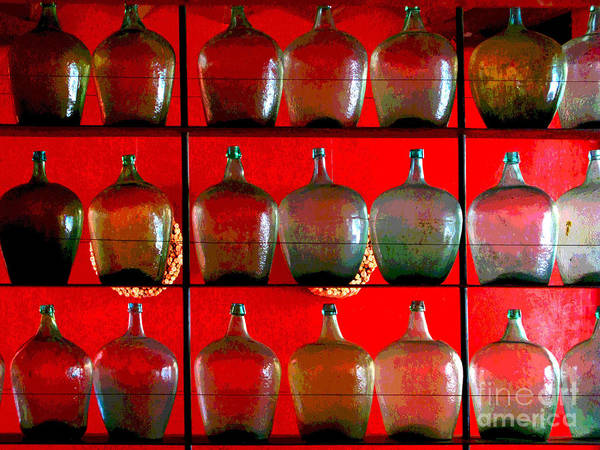 Darian Day Poster featuring the photograph Old Tequila Jugs By Darian Day by Mexicolors Art Photography