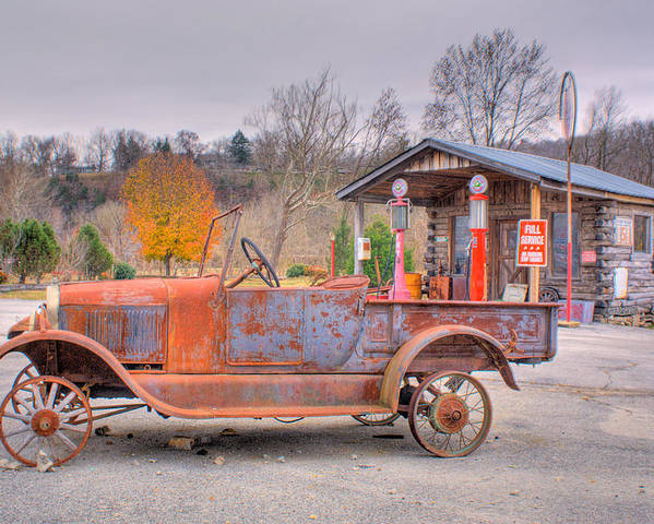 Old Poster featuring the photograph Old Truck And Gas Filling Station by Douglas Barnett
