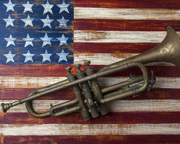 Old Trumpet Poster featuring the photograph Old Trumpet On American Flag by Garry Gay