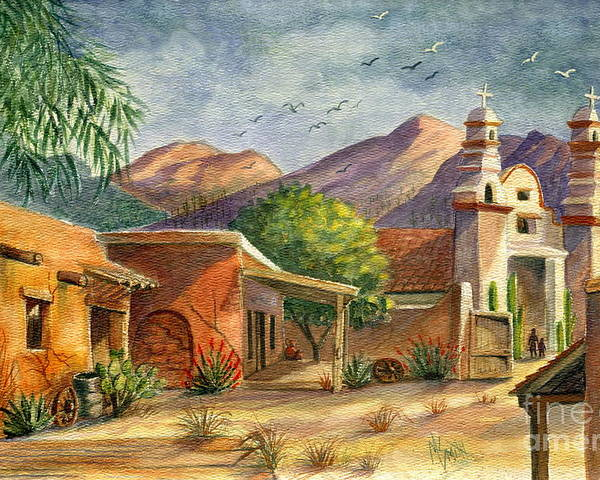 Old Tucson Poster featuring the painting Old Tucson by Marilyn Smith